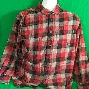 Eddie Bauer red plaid flannel cotton button down